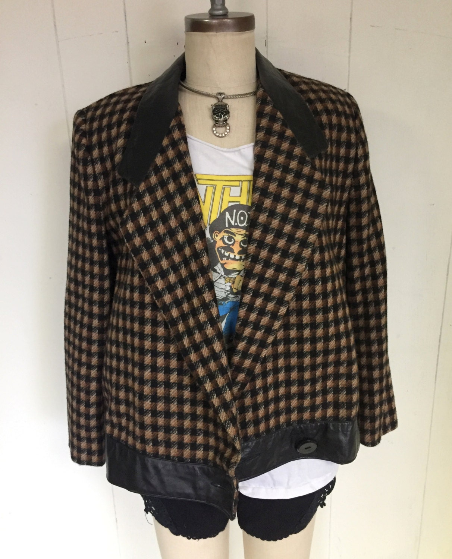 ADOLFO 80's Wool Leather Trim Boxy Checkered Brown Chic Blazer Jacket