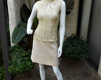 Vintage 1960's Tobi Cream Colored Sequin Sleeveless Knit Top - Size Small