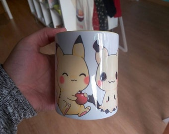 Mimikyu and Pikachu pokemon cute coffee mug