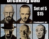 "Breaking Bad set of 5 Art Print/Reproductions 10"" x 12"" Signed By Artist!"