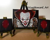 """It Pennywise inspired 3-Mini 5""""x7""""& 3""""x3"""" Canvas Set - Original Acrylic Paintings by Lee Howard"""