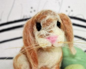 Needle felted lop ear bunny rabbit, rabbit soft sculpture figurine, custom bunny, tan lop ear, Easter bunny, spring rabbit,