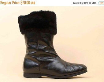 20% OFF 1DAY SALE 50s 60s Vtg Black Genuine Leather & Wool Lined Fur Cuff Tall Ankle Boot / Weather Resistant Mod Pin Up Almond Toe 6 Euro 3