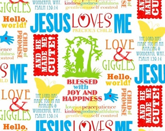 JESUS LOVES ME rainbow color  words on white Henry Glass Christmas quilters cotton fabric by the Half yard Christian Children