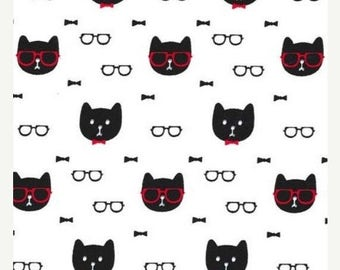15% off thru 2/28 DAPPER CAT Michael Miller fabric by the 1/2 yard cotton cat faces, red bow tie, glasses, spectacles black on white PC6748-