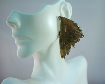 Avant Garde Artisan Crafted Gold Vermiel Over Sterling Angel Wing Earrings