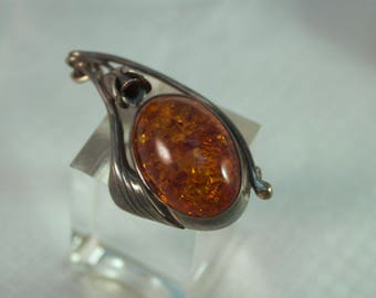 Victorian Sterling Amber Art Nouveau Brooch