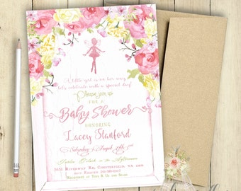 Baby Shower Invitation | Fairy | Baby Girl | It's a Girl | Party | Baby Girl Shower | PRINTABLE | Customized | Yellow and Pink | Special Day