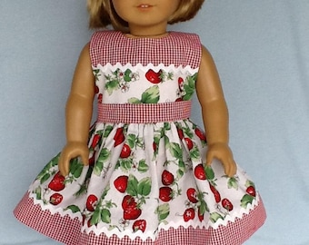 18 inch doll dress and headband. Fits American Girl Dolls.  Strawberry print with gingham contrast.