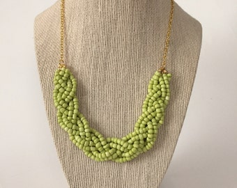 Lime Green Beaded Braid Necklace