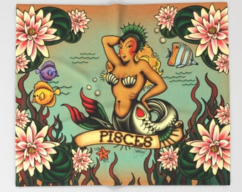 Horoscope Tattoo Pisces Blanket