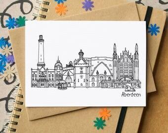 Aberdeen Landmarks Greetings Card - Aberdeen Skyline Art - blank Aberdeen card - card for Aberdeen - Grampian greetings card - Scottish Card