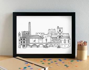 Carlisle Landmarks Print - Carlisle Skyline Art Print - Carlisle Wedding Gift - Carlisle Art Print - Carlisle Graduation Gift - Cumbrian Art