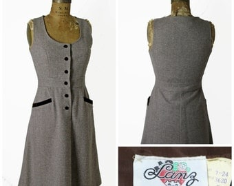 1960s Wool Dress with Velvet Buttons