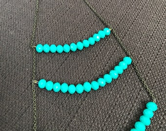 Teal Boho Gypsy Necklace