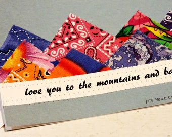 Mountain Card, Original Textile Fiber Love Note Card, Love You to the Mountains and Back Notecard, Valentines Day Greeting itsyourcountry