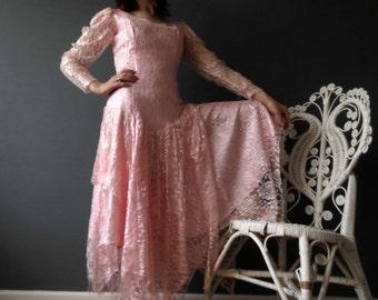 80s Pastel Pink Lace Dress Drop Waist Dress Edwardian Flapper Style