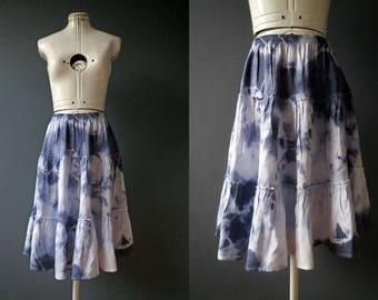 Blue White Tie Dye Tiered Ruffle Cotton Skirt Small