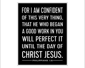 Philippians 1:6, scripture art print, Graduation gift, Confirmation Gift, First Communion, Christian wall art, For I am Confident