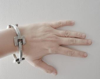 DENMARK Anders ANDERSEN Modernist Vintage Pewter Abstract Bracelet, 1960s