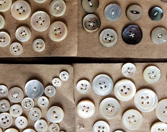French Vintage Mother of Pearl Buttons. Mother of Pearl Button Bundle. Over 100 Buttons. Assorted medium sizes. Crafting & Sewing Supplies.