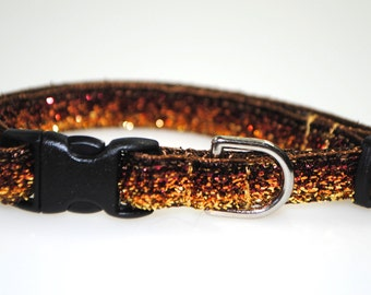 """Metallic Brown to Gold Ombre Glitter - 3/8"""" Adjustable Cat Collar"""