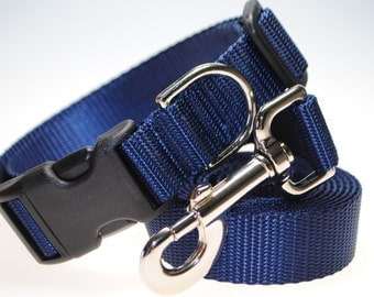 """Navy Blue Collar and Leash Combination - 1"""" Width"""