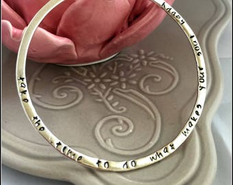 Personalised Name/Quote Sterling Silver Bangle, Moms Gift, Kids Names, Grandma Gift
