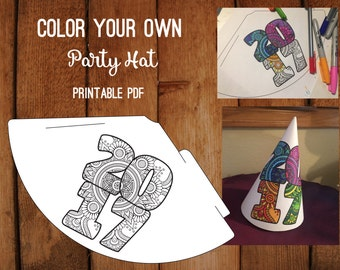 Class of 2017 Printable Party Hat // Color your own hat // Coloring Hat // Birthday 2017