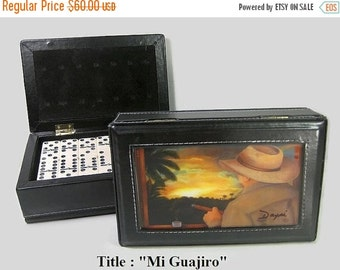 ON SALE Mother' Day Gift !!Exclusive Dominoes Set Double Six w/Artwork in Leather Case.