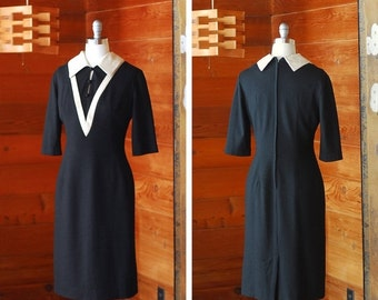 20% OFF FALL SALE / vintage 1960s dress / 60s black and white wool dress / size medium large