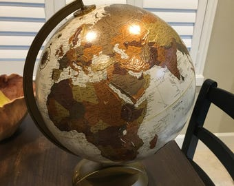 World Globe Topical globemaster 12 inch sepia colored world travel plastic base mid century base