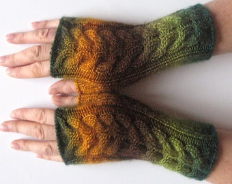 Green Fingerless Gloves Yellow Brown Salad wrist warmers Knit
