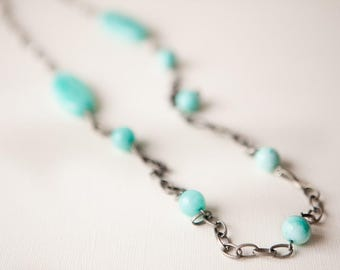 Turquoise Necklace, Aqua Necklace, Bohemian Necklace, Long Necklace, Turquoise Jewelry, Silver Necklace, Stone Necklace, Boho, Trending