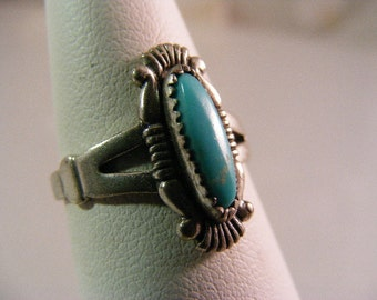Vintage Southwest Bell Trading Company Turquoise Ring in Sterling Silver.....  Lot 5073