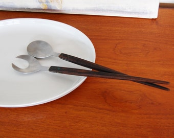 Danish modern teak and Stainless Steel Server/Cutlery Set