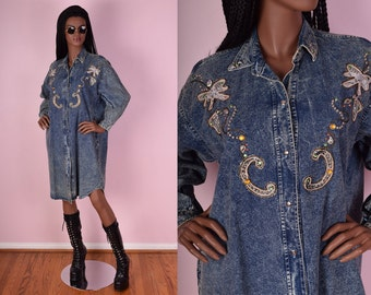 80s Acid Wash Denim Shirt Dress/ Small-Large/ 1980s/ Studded