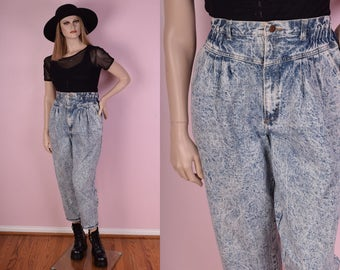 80s Acid Wash High Waisted Jeans/ US 16/ 32 Waist/ 1980s/ Stone Wash/ Vintage