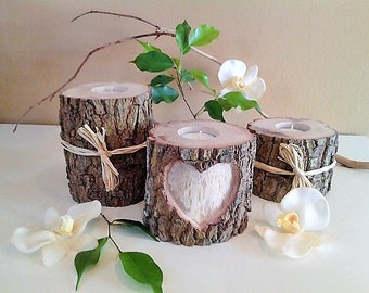 3 Tree branch candles - Sweetheart table - Heart candle -  Wedding candles- Wood Candle - Unity candle - Anniversary