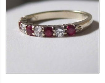 Vintage 18k Ruby and Diamond Band Ring Finest Quality