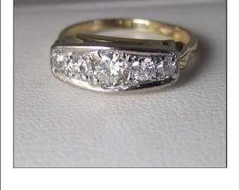 Gorgeous Vintage 14k Five Old Mine Cut .85 Ct. Diamond Wedding Band Ring