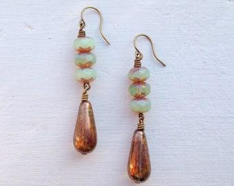 Metallic Bronze Earrings/Teardrop Earrings/Amber Earrings/Sea Green Earrings/Czech Glass Earrings/Light Green Earrings/Bridesmaid Earrings