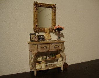 OOAK dollhouse miniature consolle  and mirror in mahogany wood. decorated white shabby chic and gold leaf