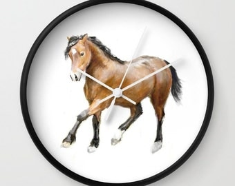 Horse Wall Clock, Barn Animal, Woodland, Adorable, Love, Nursery, Wall Clock, Modern Home Decor, Modern Clock, Modern Wall Clock