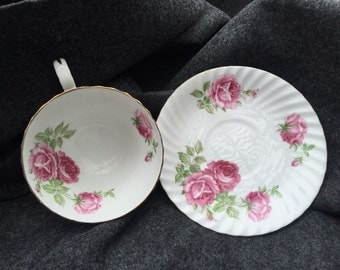 Stanley Tea Cup & Saucer roses large and small fine bone china England sweet cottage chic