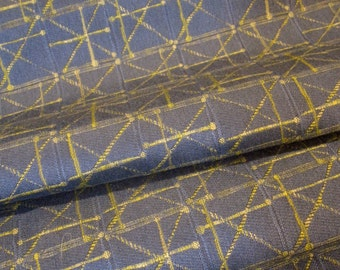 Vintage Mod Atomic Upholstery Fabric Remnant - Blue w/ Chartreuse Lime Starburst Pattern.