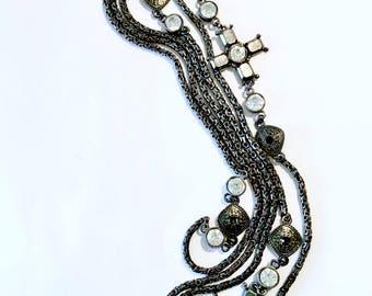 French Long Black Chain Necklace with Rhinestone Cross Adornments Designer Paris Retro Fashion Accessory