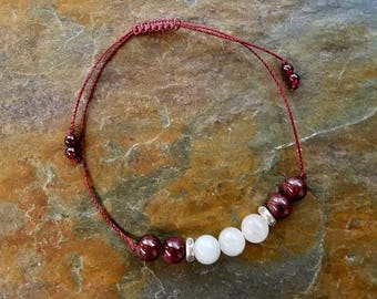 Moonstone and Garnet Gemstone Bracelet, Boho Mala Bracelet, Beaded Bracelet, Garnet Jewelry, January Birthstone
