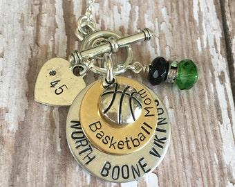 Sports Mom Personalized Hand Stamped Necklace Basketball Football Volleyball Soccer