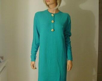 Mid Century Turquoise Knit Dress